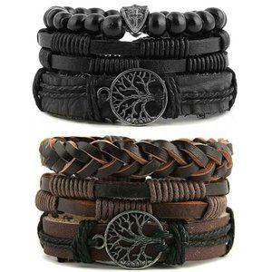 2 Pcs Genuine Leather Tree of life Bracelets